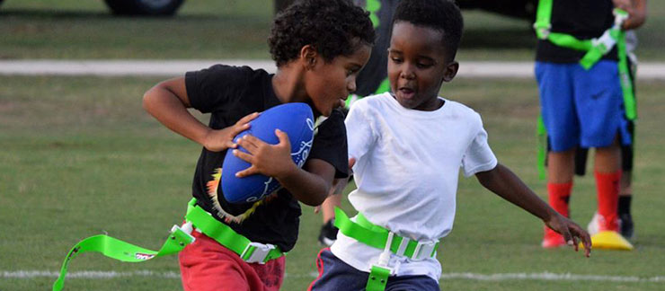 Kids playing Flag Football at Chappapeela Sports Park